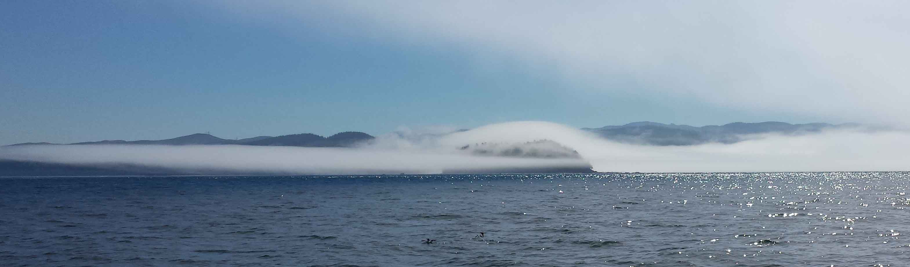 Fog over Waadah Island as we pass Neah Bay